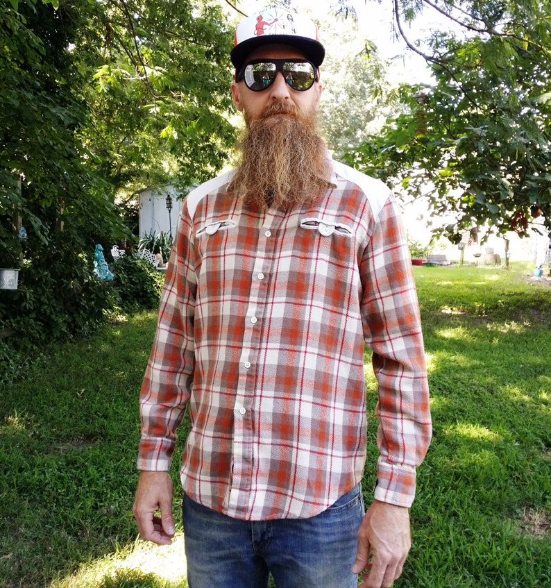 Mens 70s Shirt Flannel and Corduroy Flannel Shirt Corduroy image 0
