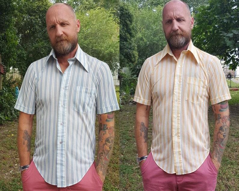 Mens 70s Shirt Vintage Shirt Striped Shirt Blue Shirt image 0