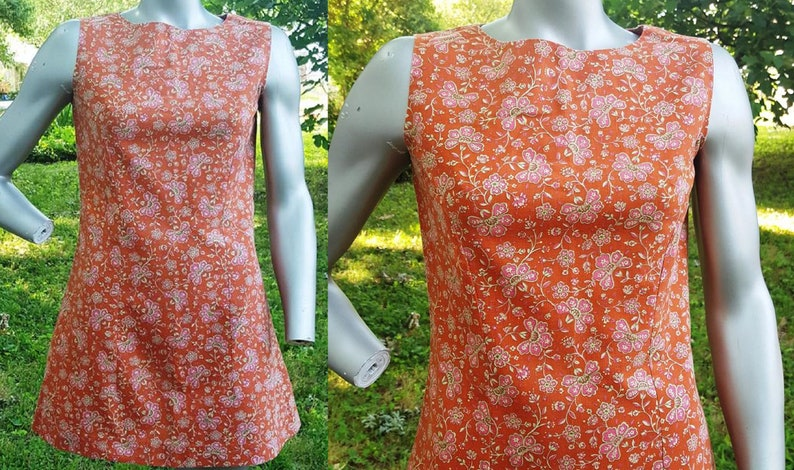 Hand Sewn Dress 60s Dress Vogue Dress Vintage Dress Floral image 0