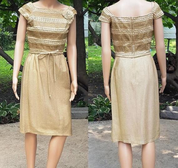 50s Dress, Gold Lamé Dress, Hollywood Dress, Vinta