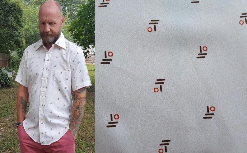 Mens 70s Shirt Print Shirt Vintage Shirt Short Sleeve image 0