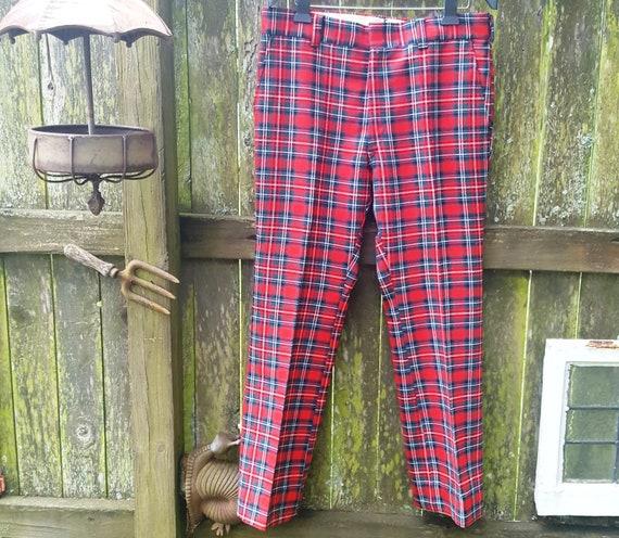 Mens 70s Pants, Vintage Plaid Pants, Hipster Pants