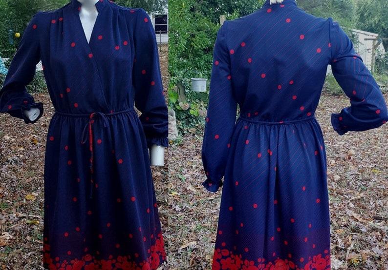 70s Dress Polka Dot Dress Striped Dress Floral Dress Knit image 0