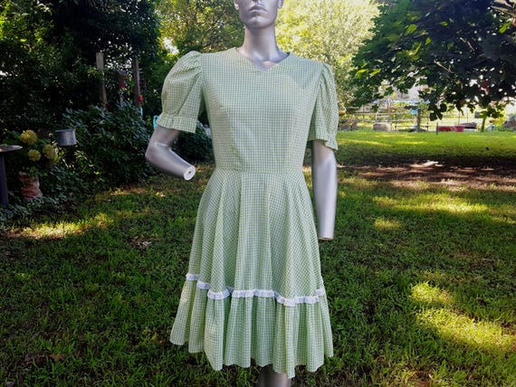Green Gilligan's Dress Mary Gingham Island Costume Dress Dress Vintage Dress 8 Size Haw Eyelet Dress 60s Vintage Ann Costume Hee Xwx7BqX