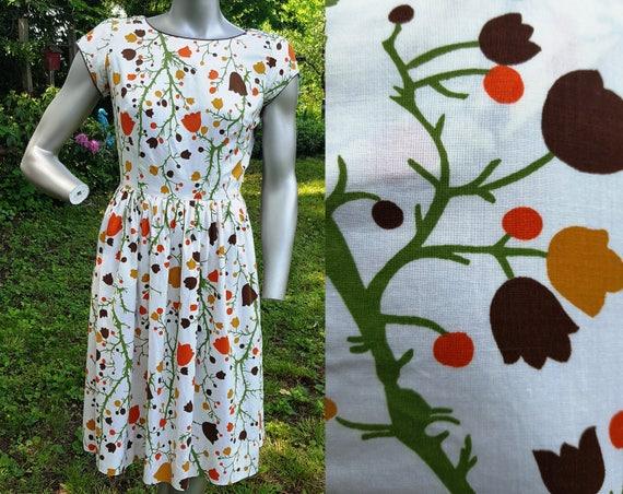 Floral Dress, 50s Dress, Tulip Print Dress, Vintag