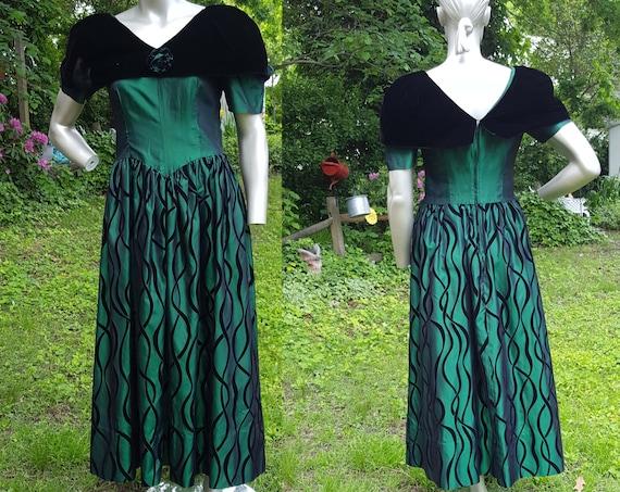 80s Prom Dress, Evening Gown, Green Dress, 80s Bri