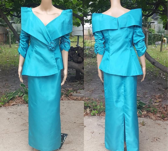 80s Prom Dress, Vintage Jacket, Teal Dress, Teal J