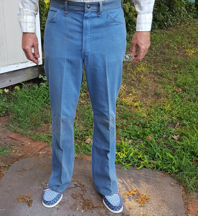 70s Blue Jeans Two Tone Jeans  Panel Jeans Vintage Bell image 0