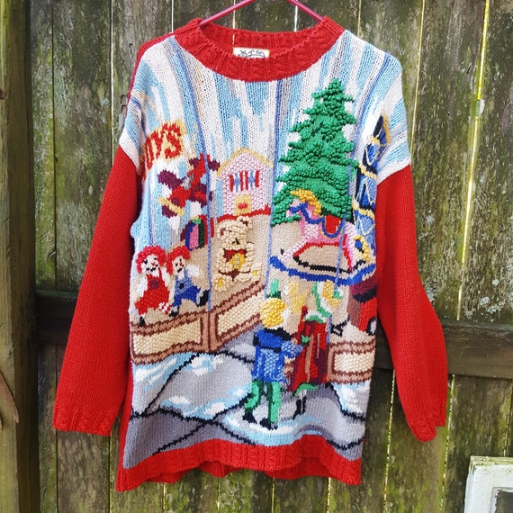 Vintage Ugly Christmas Sweater, 90s Sweater, Holid