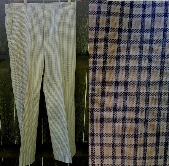 Mens Pants, 70s Plaid Pants, Hubbard Slacks, Vinta