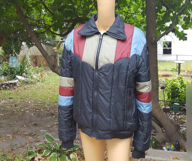 80s Jacket Striped Jacket Puffy Coat Filled Coat Vintage image 0