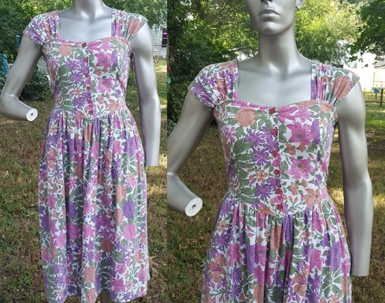 80s Sundress Vintage Dress 80s Dress Bold Floral Dress 80s image 0