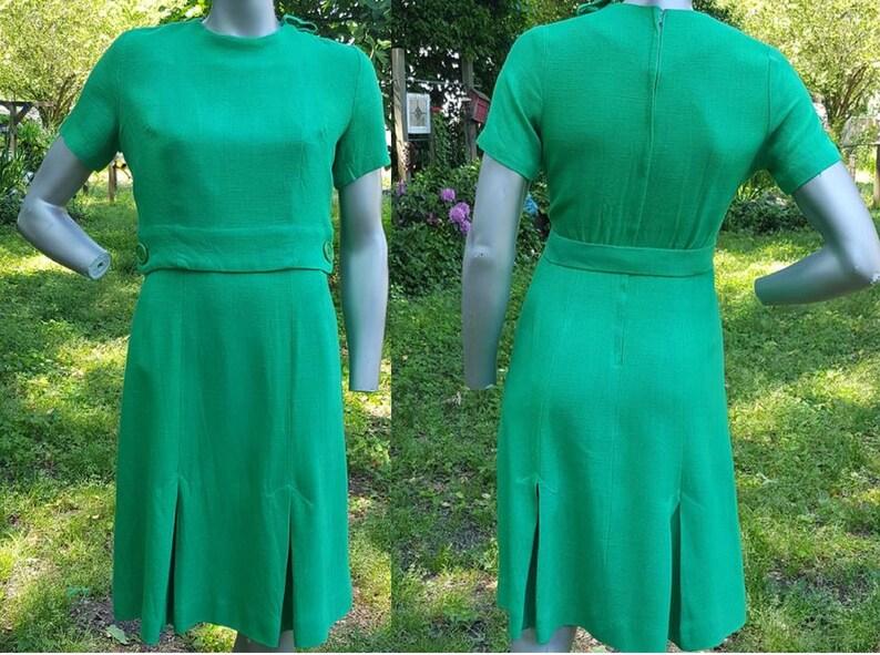 60s Dress Green Dress Vintage Dress Cotton Twill Dress Mod image 0
