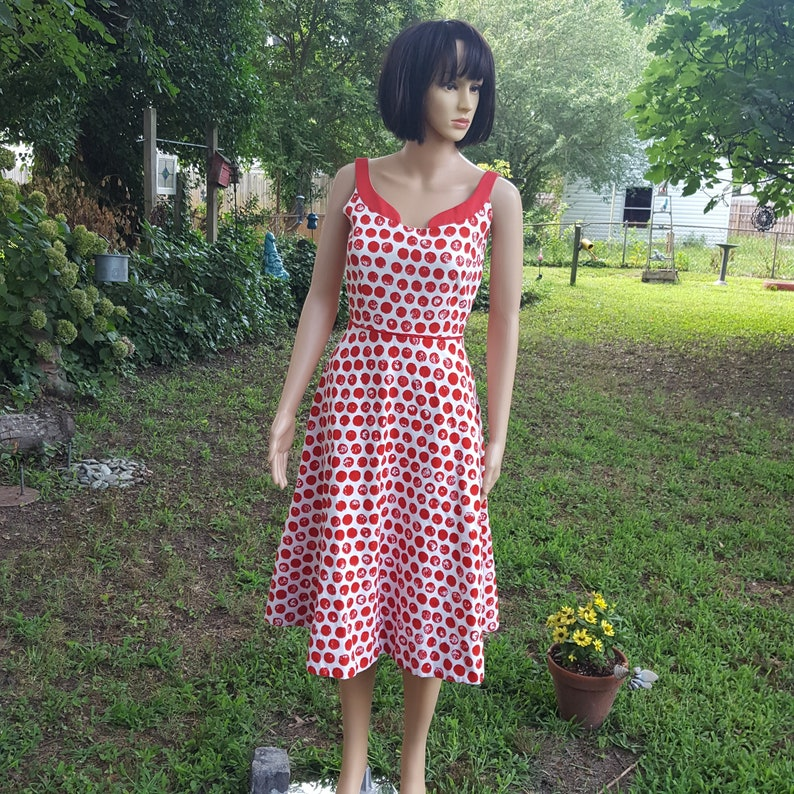 Red and White Dress Vintage Dress Polka Dot Dress image 0
