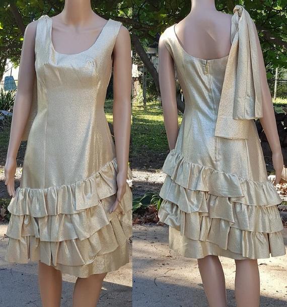 50s Dress, Gold Lamé Dress, 50s Cocktail Dress, 50
