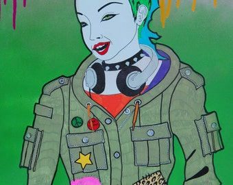 Combat punk girl in green
