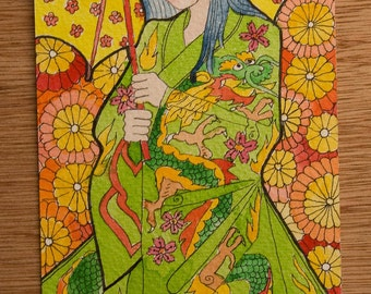 Girl in dragon kimono, ink painting
