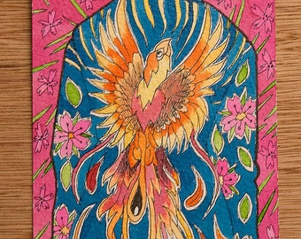 Phoenix postcard sized painting