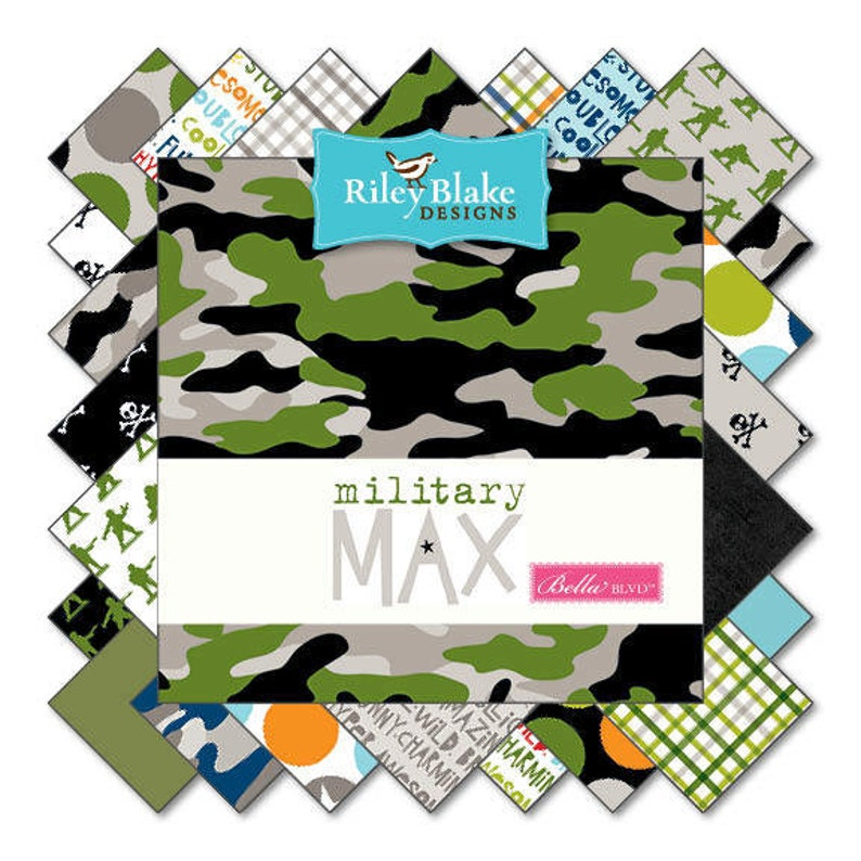 Fabric by Riley Blake:  Military Max by Bella BLVD Layer Cake image 0