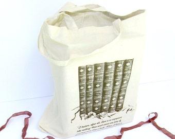 Jane Austen Book Bag, Pride and Prejudice Quote, Austen Tote Bag, Austen Wedding Bag, Book Tote, Austen Wedding Gift, Jane Austen Book Bag