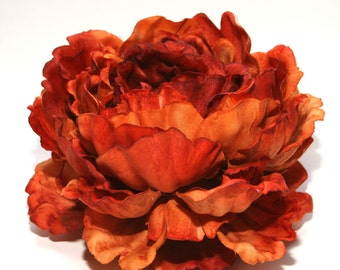 1 ENORMOUS Rust Orange Peony - Artificial Flower Head, Silk Flowers - PRE-ORDER- Stem and Leaves Available