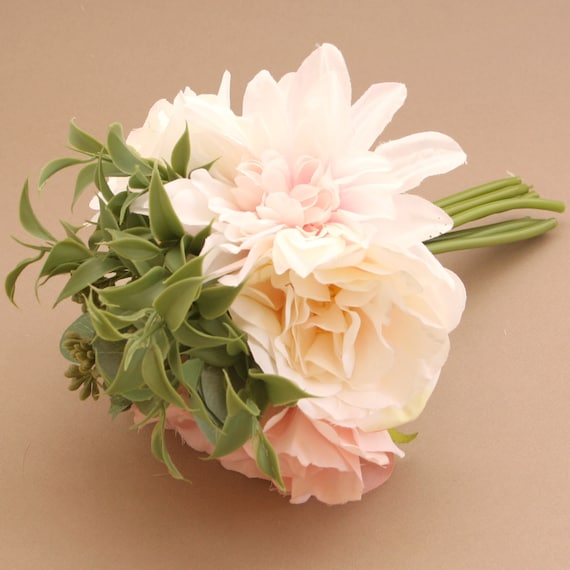 Small white and blush pink rose dahlia and peony bouquet etsy image 0 mightylinksfo