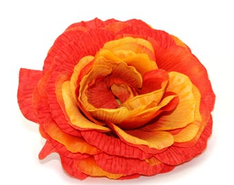 1 Jumbo Flame Orange Silk Ranunculus - Artificial Flowers, Silk Flower Heads