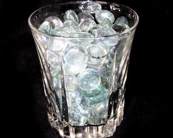 1 Pound Clear Flat Glass Marbles - For Vases, Aquariums, Centerpieces