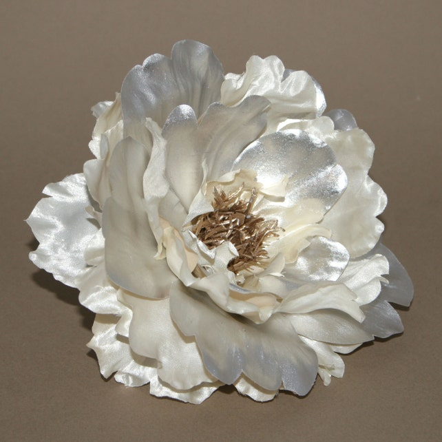 Metallic cream and silver peony with or without stem etsy image 0 mightylinksfo