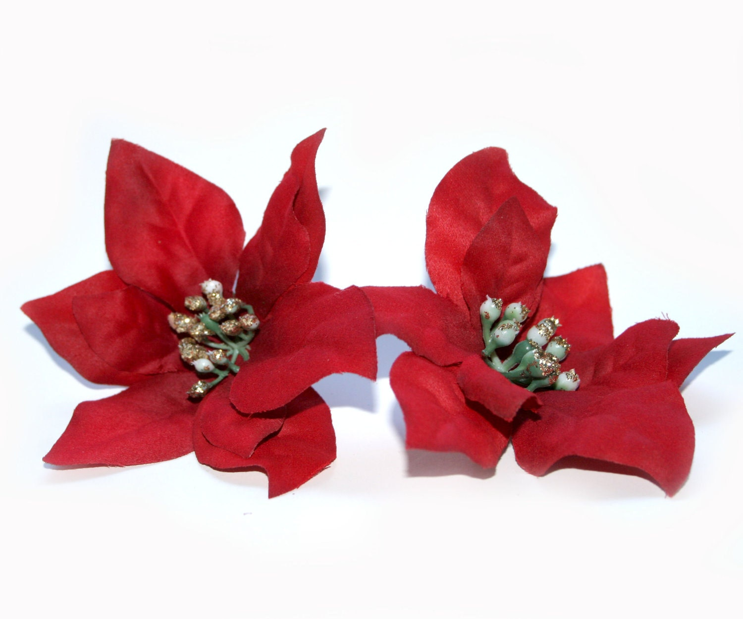 2 Artificial Red Poinsettia Silk Flowers Christmas Flowers Etsy
