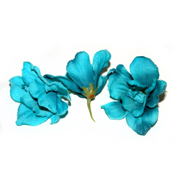 3 turquoise silk delphinium blossoms 3 layers artificial etsy image 0 mightylinksfo