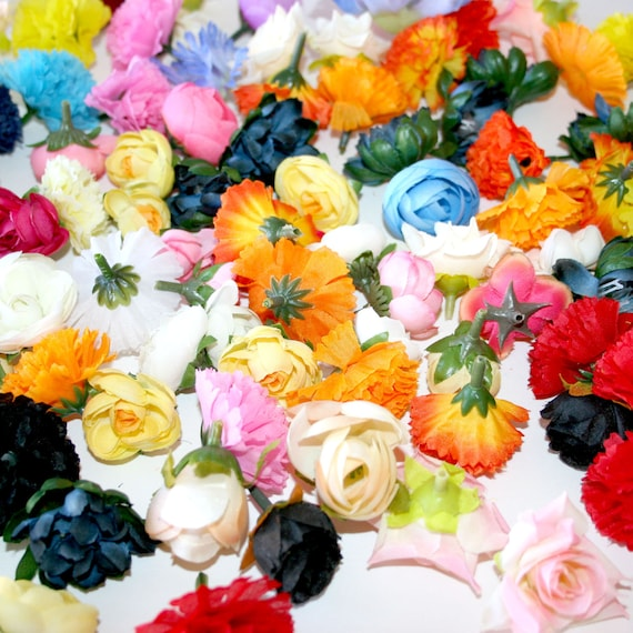 50 piece flower grab bag artificial flower silk flowers etsy image 0 mightylinksfo