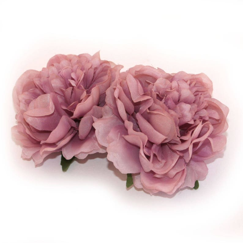 2 Small MAUVE PINK Peonies Artificial Flower Heads