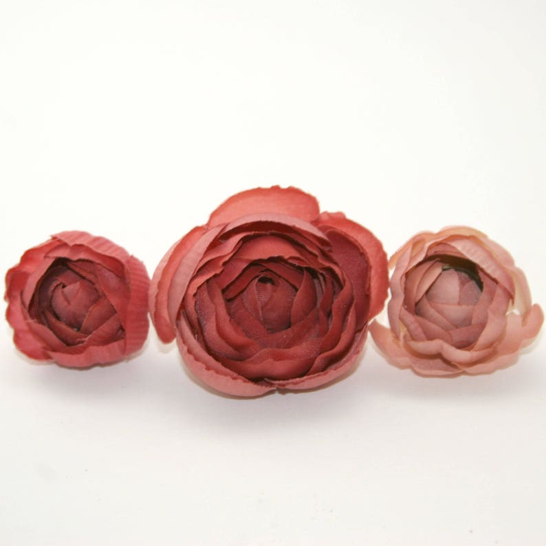 5 Mauve and Pink Ranunculus Buds Silk Flowers Artificial Flowers