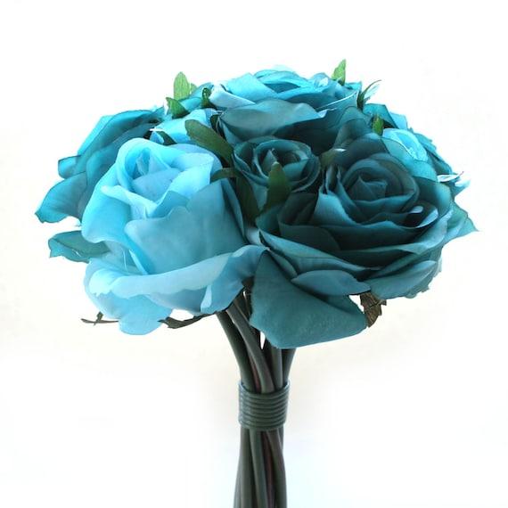 Bouquet Flores Seda ArtificialesRamo De Rosa Nosegay Turquesa Y 2WEDIY9H