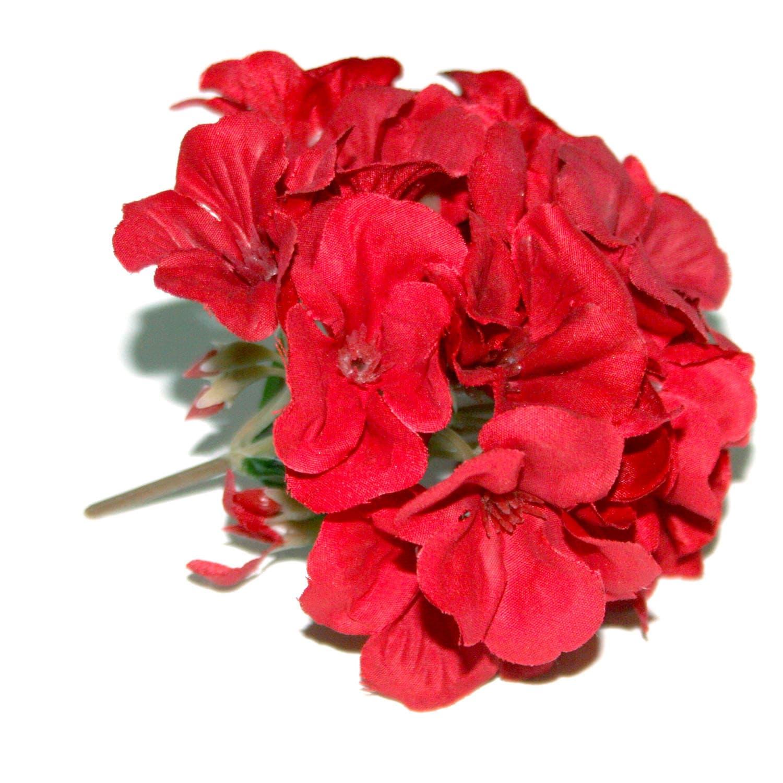 1 Red Geranium Flower Head Artificial Flowers Blossoms Etsy