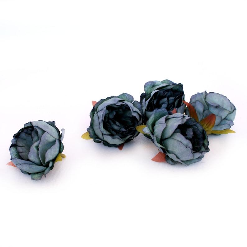 5 Mini Peonies in SMOKEY BLUE Artificial Flower Heads Silk Flowers