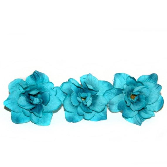 3 turquoise silk delphinium 4 layers silk flowers etsy image 0 mightylinksfo