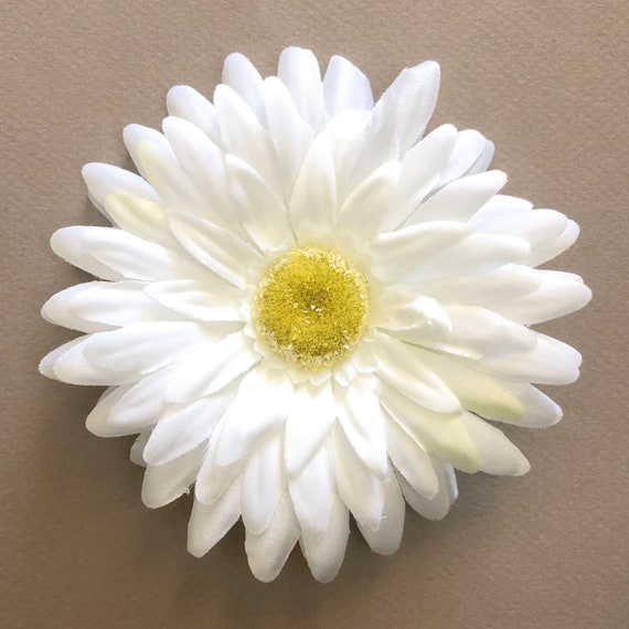 White gerbera daisy yellow highlights artificial flowers etsy image 0 mightylinksfo