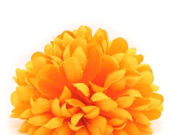 Bright Yellow Jumbo Mum - Artificial Flowers, Silk Flower Heads