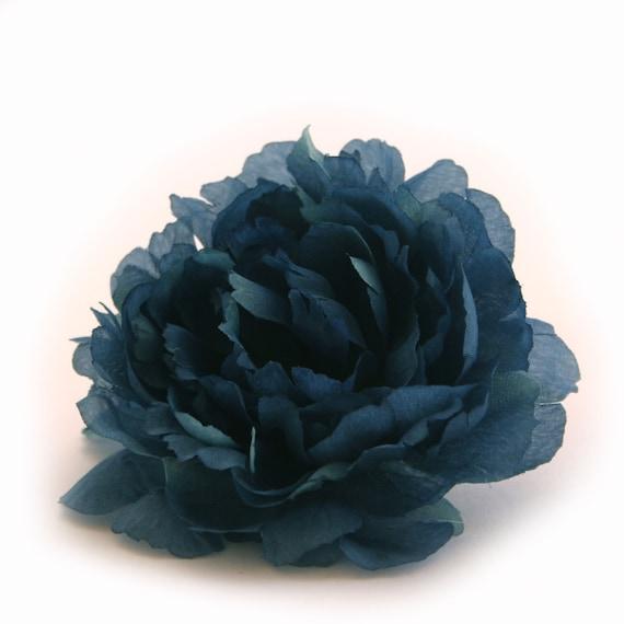 Navy blue peony silk flowers artificial flower heads etsy image 0 mightylinksfo