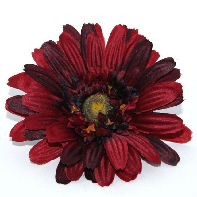 Textured dark red gerbera daisy artificial flowers silk etsy image 0 mightylinksfo
