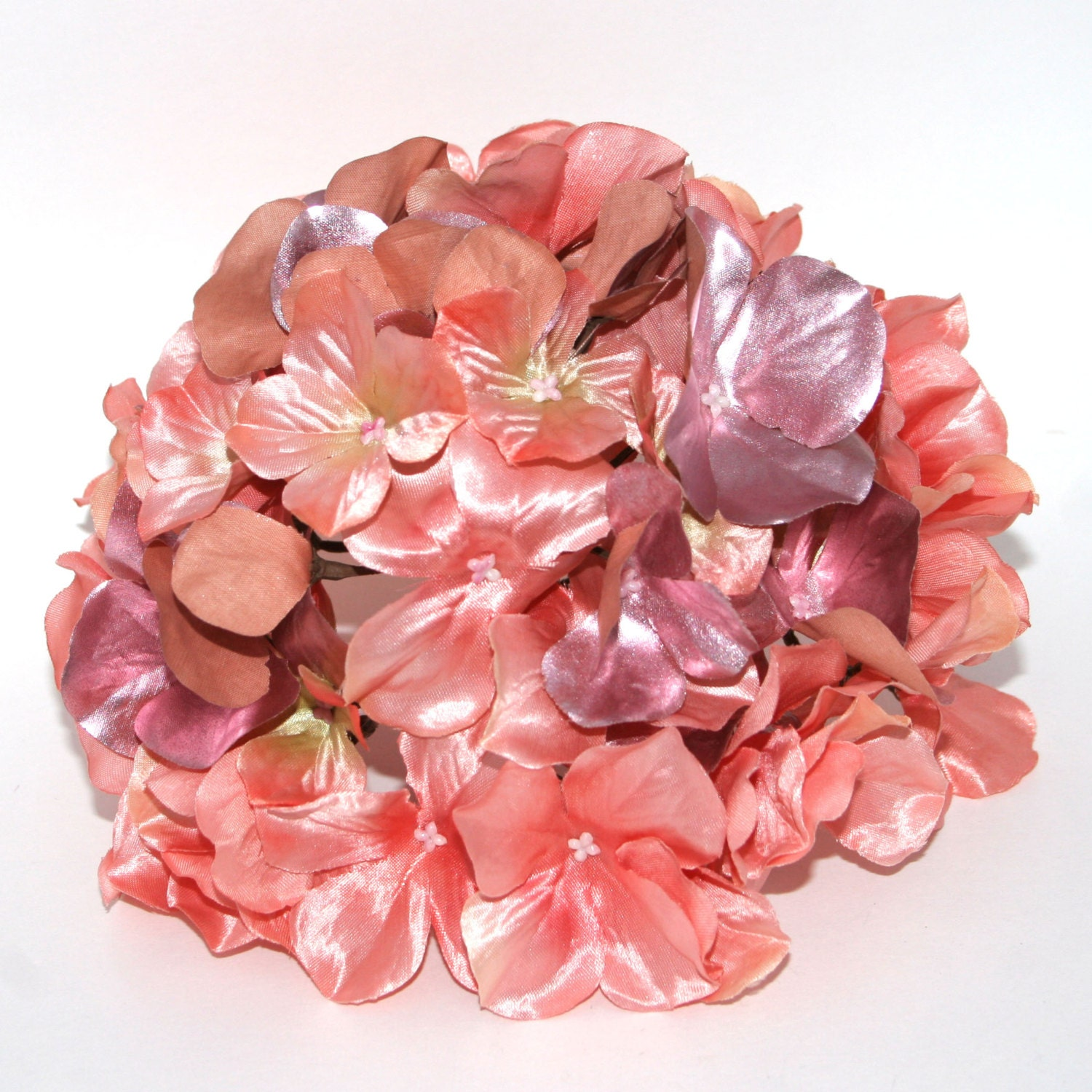 Large Metallic Peach Pink Hydrangea Bunch With Or Without Etsy