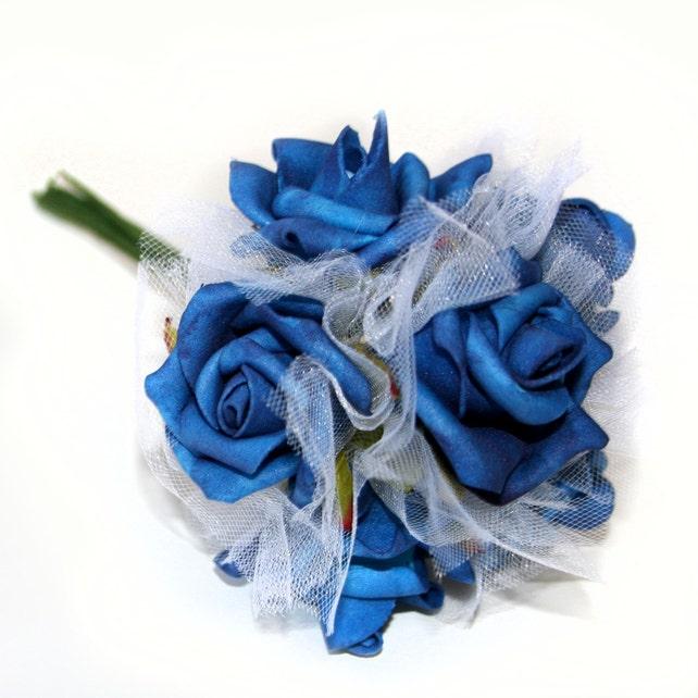 1 blue rose bouquet artificial flowers silk flowers etsy image 0 mightylinksfo