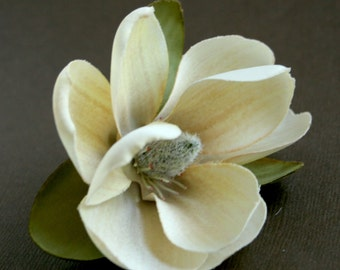 1 Small Antique Look Magnolia in Dark Ivory - Artificial Flower