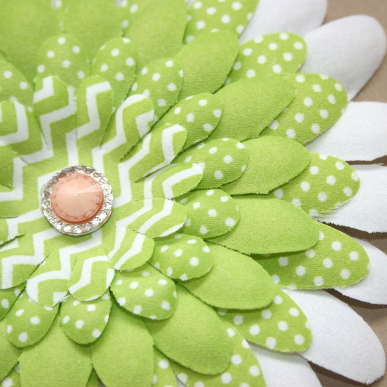 Polka Dot Artificial Flowers Silk flowers Embellished Green and White Patterned Daisy Flower Head Chevron Stripe