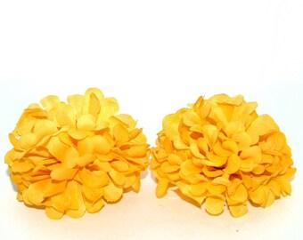 2 Golden Yellow Ball Mums - Artificial Flowers, Silk Flower Heads