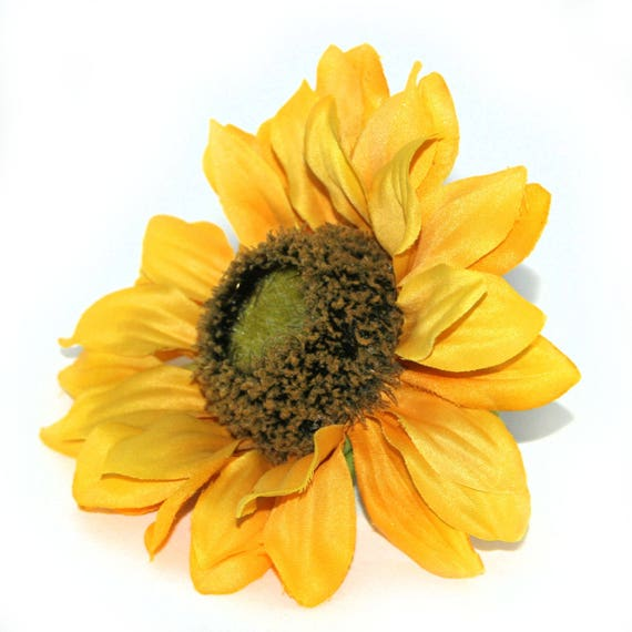 Large yellow sunflower artificial flowers silk flower heads etsy image 0 mightylinksfo