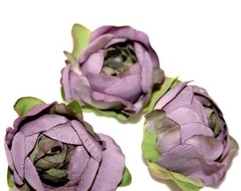 3 Medium Lilac Silk Ranunculus - Artificial Flower Heads, Silk Flowers