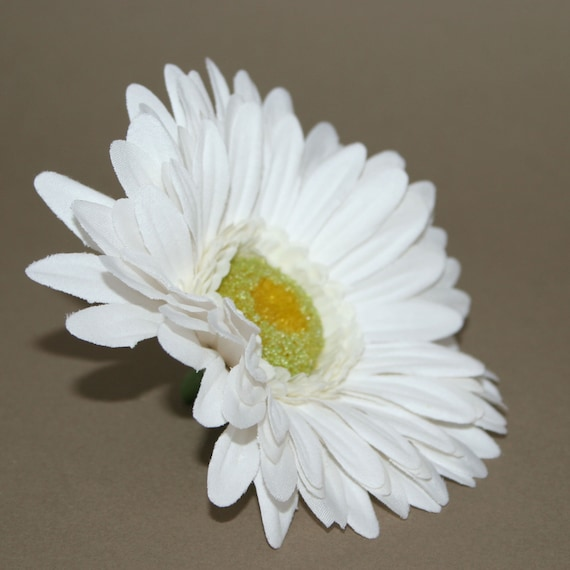 White gerbera daisy artificial flowers silk flower heads etsy image 0 mightylinksfo